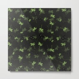 Green leaves pattern no.2 Black and green Metal Print