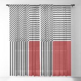 Geometric abstraction, black and white stripes, red square Sheer Curtain