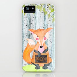 The little Fox- Woodland Friends- Watercolor Illustration iPhone Case