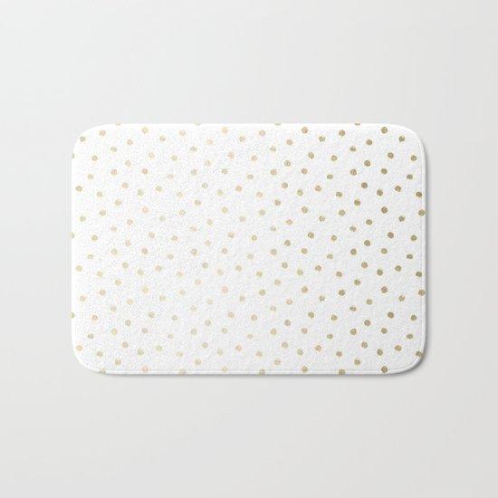 Delicate Gold Polka Dots Bath Mat