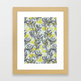 Leaf and Berry Sketch Pattern in Mustard and Ash Framed Art Print