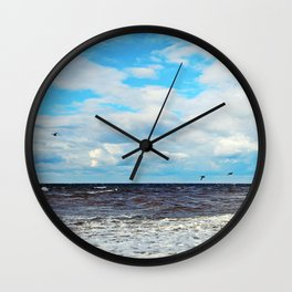 Flying Cormorants Wall Clock