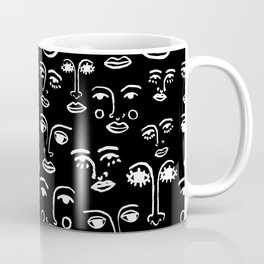 Funky Faces in Black Coffee Mug