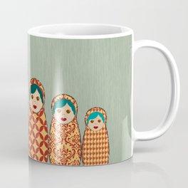 Red and Yellow Matryoshka Nesting Dolls Coffee Mug