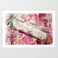 broadway Art Prints featuring Broadway by LebensART