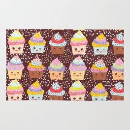 Cupcake Kawaii funny muzzle with pink cheeks and winking eyes Rug