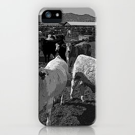 Black & White California Catte Yard Pencil Drawing Photo iPhone Case