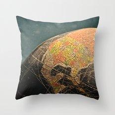 Where I Am (Vintage Globe) Throw Pillow