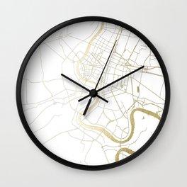 Bangkok Thailand Minimal Street Map - Gold Metallic and White II Wall Clock