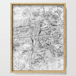 Prague White Map Serving Tray