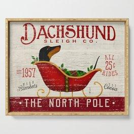 Dachsund dog Christmas Sleigh Serving Tray