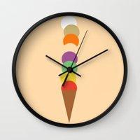 ice cream Wall Clocks featuring Ice-Cream by George Hatzis