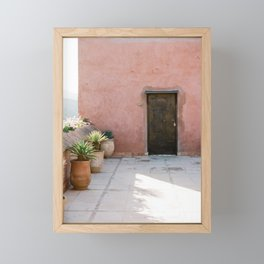 Magical Morocco - Ourika | Coral colored house and wooden door in the atlas mountains Framed Mini Art Print