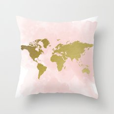 Gold World Map Poster Throw Pillow