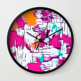 pink orange and green drawing abstract background Wall Clock