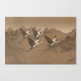 Cranes Flying Over Mongolia Canvas Print