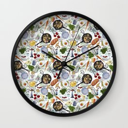 Seamless pattern with food. Fried eggs, fried mushrooms, bread, cheese, tomatoes, carrots, greens. Wall Clock