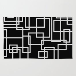 Geometric Cubic Line Pattern Black And White Rug