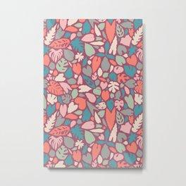 Houseplant Love Hand Drawn Tropical Plants Pattern Metal Print