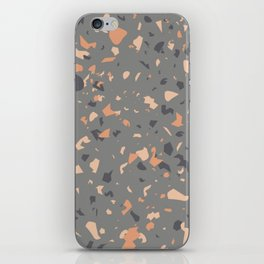 Coral and Gray Terrazzo Pattern iPhone Skin