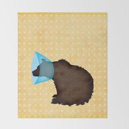 Cone of Shame Bear Throw Blanket