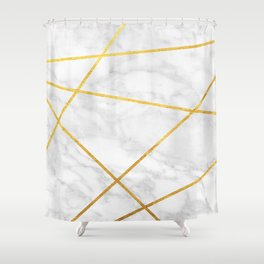 White Carrara marble with Gold Lines Shower Curtain