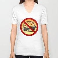 junk food V-neck T-shirts featuring No Junk Food Zone by Geni