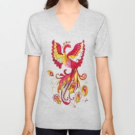 Watercolor Firebird Phoenix Fantasy Bird with Red Pink Yellow Feathers Unisex V-Neck