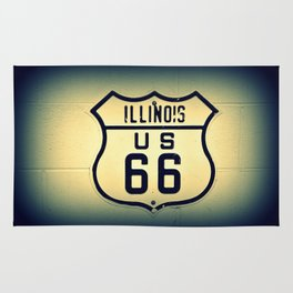 Historic U.S. old Route 66 sign in Illinois. Rug