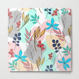Trendy colorful leaves hand drawn cute illustration Metal Print