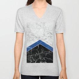 Arrows - White Marble, Blue Granite & Black Granite #974 Unisex V-Neck