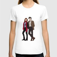 karen hallion T-shirts featuring Matt Smith as Dr Who and Karen Gillan as Amy Pond by liamgrantfoto