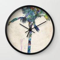 palm tree Wall Clocks featuring Palm Tree by Taylor Payne