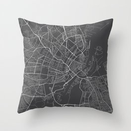 Copenhagen Map, Denmark - Gray Throw Pillow