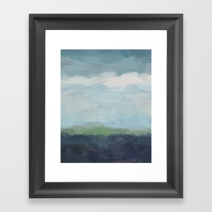 Navy Teal Aqua Sky Blue Green Abstract Wall Art Painting Art Nature Horizon Modern Wall Framed Art Print By Rachelelise