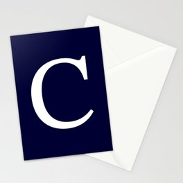 Navy Blue Basic Monogram C Stationery Cards