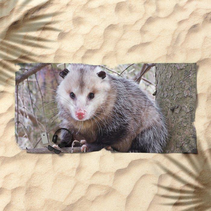 Possum Staredown Beach Towel