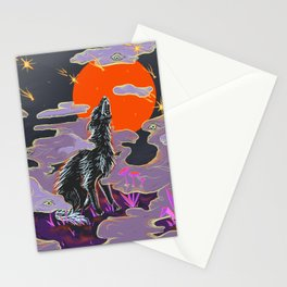 Wolf Crying at the Falling Stars Stationery Cards