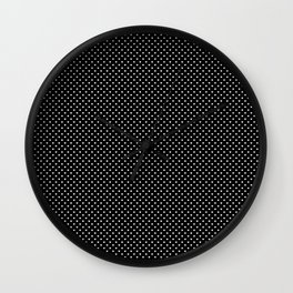 Classic White Polka Dot Hearts on Black Background Wall Clock
