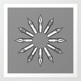 Dip Pen Nibs Circle (Grey and White) Art Print