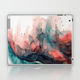 Watercolor dark green & red, abstract texture Laptop & iPad Skin