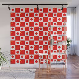 Mix of flag : China and Japan Wall Mural