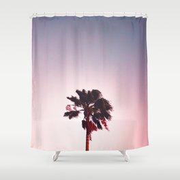 Pink And Purple Background Sunset Minimalist Palm Tree Silhouette Modern Photo California Shower Curtain