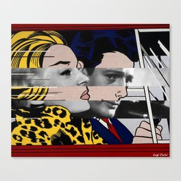 """Roy Lichtenstein's """"In the car"""" & Marcello Mastroianni with Anita Ekberg Canvas Print"""
