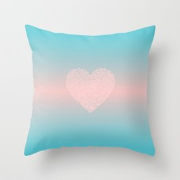 PASTEL HEART Pink Blue ombre color Throw Pillow