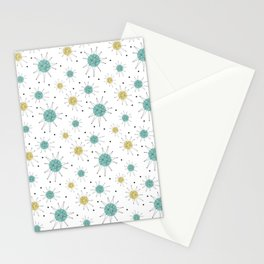 Franciscan Starburst Aqua Blue Yellow Mid Century Pattern Stationery Cards