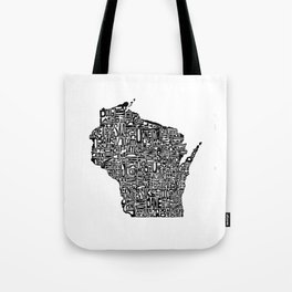 Typographic Wisconsin Tote Bag