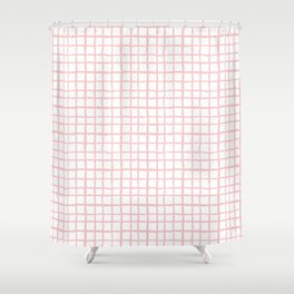 Pantone rose quartz grid pattern print minimal lines cross swiss cross painting hand drawn pastel Shower Curtain