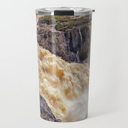 Powerful water going over the falls Travel Mug