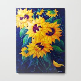 Dancing Sunflowers Metal Print